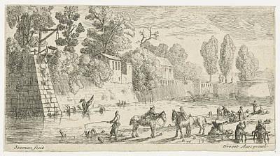 Women Do Laundry At A Canal, Anonymous, Pierre Drevet Art Print
