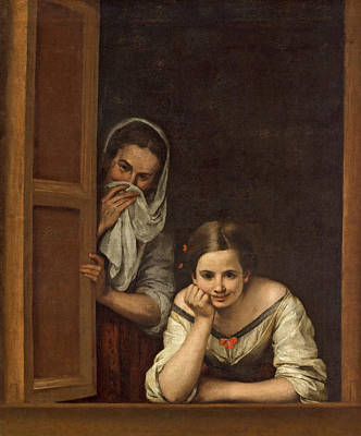 At Poster Painting - Women From Galicia At The Window by Bartolome Esteban Murillo