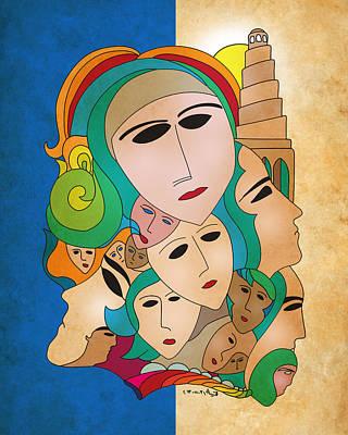 Baghdad Drawing - Women From Mesopotamia by Qutaiba Al-Mahawili