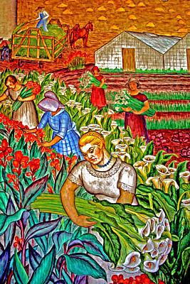 Women Gathering Flowers Art Print