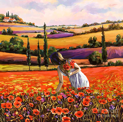 Painting - Women Gathering Poppies In Tuscan by Tim Gilliland