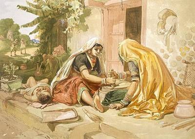 Rural Scene Drawing - Women Grinding Corn, From India Ancient by William 'Crimea' Simpson