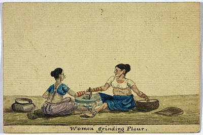 Women Grinding Flower Print by British Library
