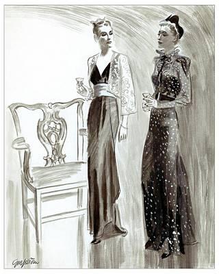 Chairs Digital Art - Women Holding Glasses by R.S. Grafstrom