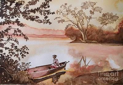 Women In Canoe 1875  Art Print