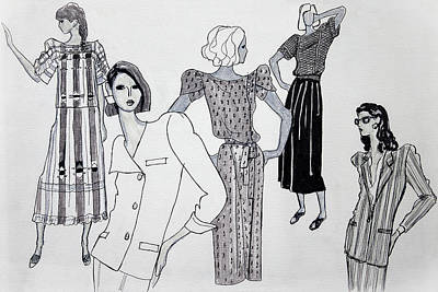 Eighties Drawing - Women In Fashion by Sarah Parks