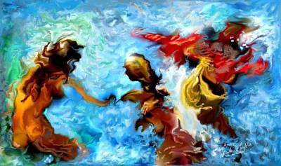 Rill Painting - Women In Flux by Vandana Devendra