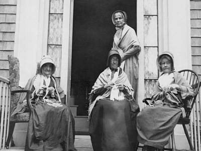 Nantucket Photograph - Women Knitting On A Porch by Underwood Archives
