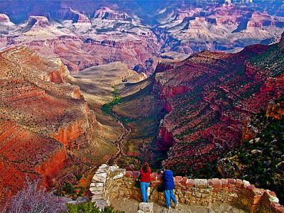 Women Looking At Bright Angel Trail From Lookout Studio In Grand Canyon National Park-arizona  Original by Ruth Hager
