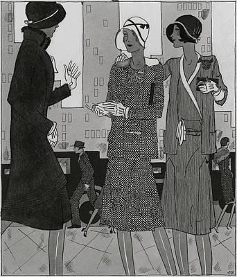 Women On A City Street Wearing Yvonne Carette Art Print by Jean Pages