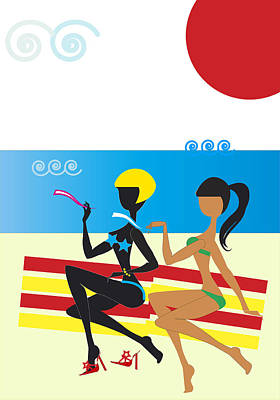 Chatting Friends Drawing - Women On The Seashore by Alain De Maximy