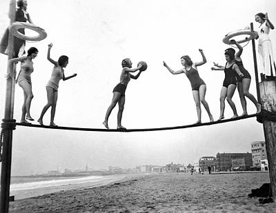 Venice Beach Photograph - Women Play Beach Basketball by Underwood Archives