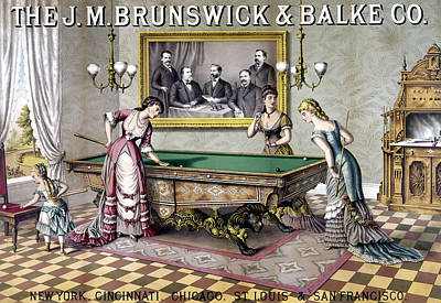 Billiards Painting - Women Playing Billiards by Granger