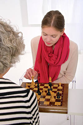 Chessboard Photograph - Women Playing Chess by Lea Paterson
