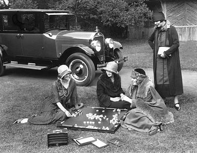 Board Game Photograph - Women Playing Mahjong by Underwood Archives