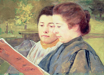 Divisionist Painting - Women Reading by Celestial Images