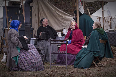 Photograph - Women Reenactors Chatting In A Civil War Camp by Randall Nyhof