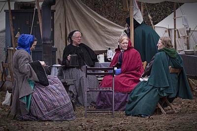 Camp Randall Photograph - Women Reenactors Chatting In A Civil War Camp by Randall Nyhof