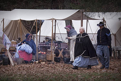Photograph - Women Reenactors In A Civil War Union Troop Camp by Randall Nyhof