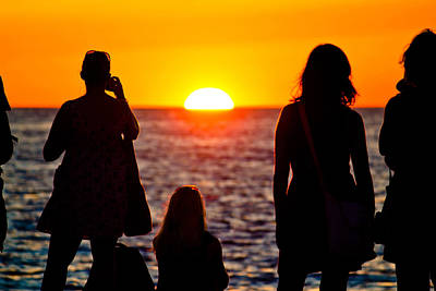 Photograph - Women Silhouette Watching Sunset On Sea Coast by Brch Photography