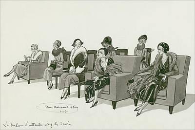 Cross Legged Digital Art - Women Sitting In A Waiting Room by Pierre Brissaud