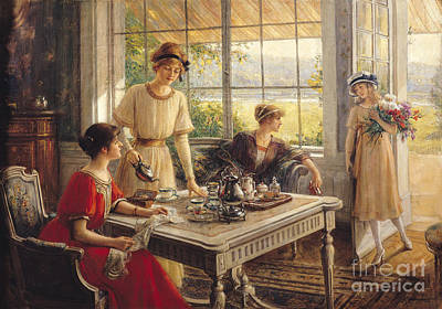 Sisters Painting - Women Taking Tea by Albert Lynch