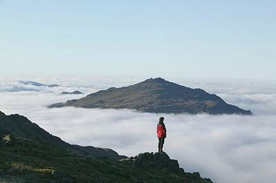 Craggy Photograph - Women Walker Looking Towards Harter Fell by Ashley Cooper