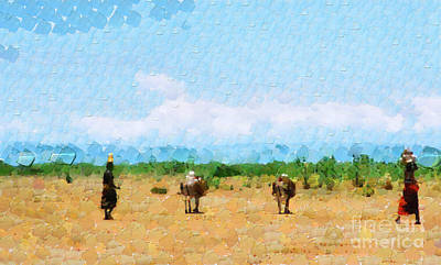 Ethiopian Woman Painting - Women Walking By Savanna Painting by George Fedin and Magomed Magomedagaev