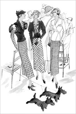 Dogs Digital Art - Women Wearing Checked Suits by Jean Pages