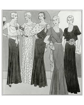 Women Wearing Designer Dresses Art Print by Polly Tigue Francis