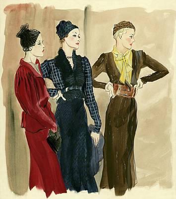 Women Wearing Schiaparelli Art Print by Rene Bouet-Willaumez