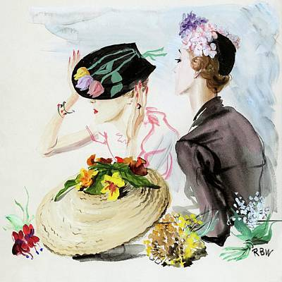 1936 Digital Art - Women Wearing Suzy Hats by Rene Bouet-Willaumez