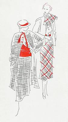 Women Wearing Tweed And Plaid Print by Artist Unknown