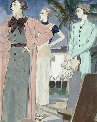Women Wearing Woolen Knits Art Print by Pierre Mourgue