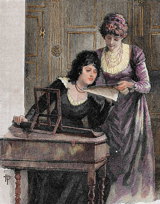 Sheet Music Photograph - Women With A Harpsichord by Prisma Archivo