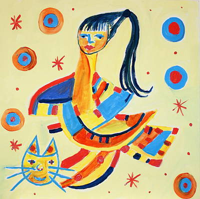 Women With Cat Original