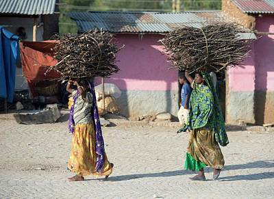 Fire Wood Photograph - Women With Fire Wood Bundles by Tony Camacho