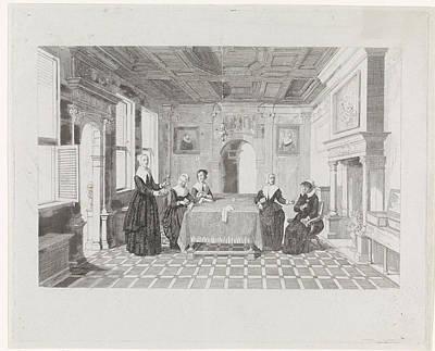 Seventeenth Century Painting - Women With Flowers In A Room, David Van Der Kellen IIi by David Van Der Kellen Iii