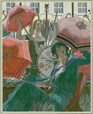 Old-fashioned Digital Art - Women With Parasols by Pierre Brissaud
