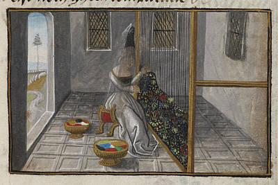 Women Working At A Loom Art Print