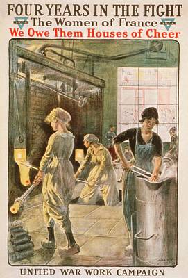 Women Working In Metal Foundry Art Print by Library Of Congress
