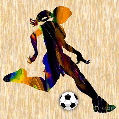 Ball Mixed Media - Women's Soccer by Marvin Blaine