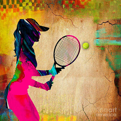 Mixed Media - Womens Tennis Painting by Marvin Blaine