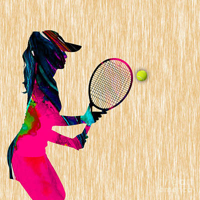 Mixed Media - Womens Tennis Watercolor by Marvin Blaine