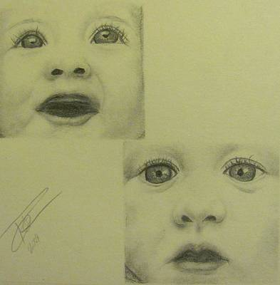 Portrait Of A Baby Drawing - Wonder And Discovery by Ronald Schuver