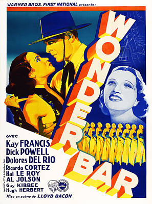 Del Rio Photograph - Wonder Bar, French Poster, From Left by Everett