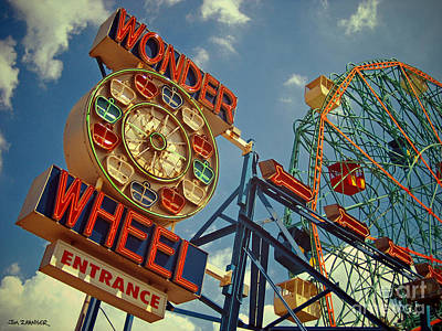 Signed Digital Art - Wonder Wheel - Coney Island by Carrie Zahniser