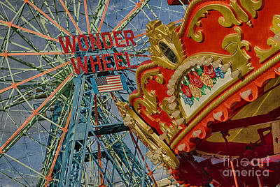 Print featuring the photograph Wonder Wheel - Coney Island by Vicki DeVico