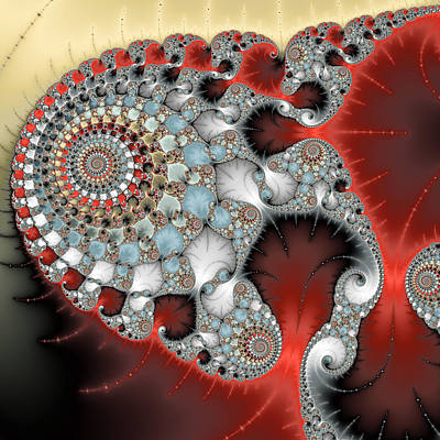 Wonderful Abstract Fractal Spirals Red Grey Yellow And Light Blue Art Print