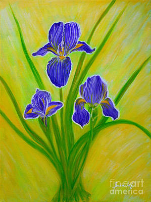 Painting - Wonderful Iris Flowers 2 by Oksana Semenchenko